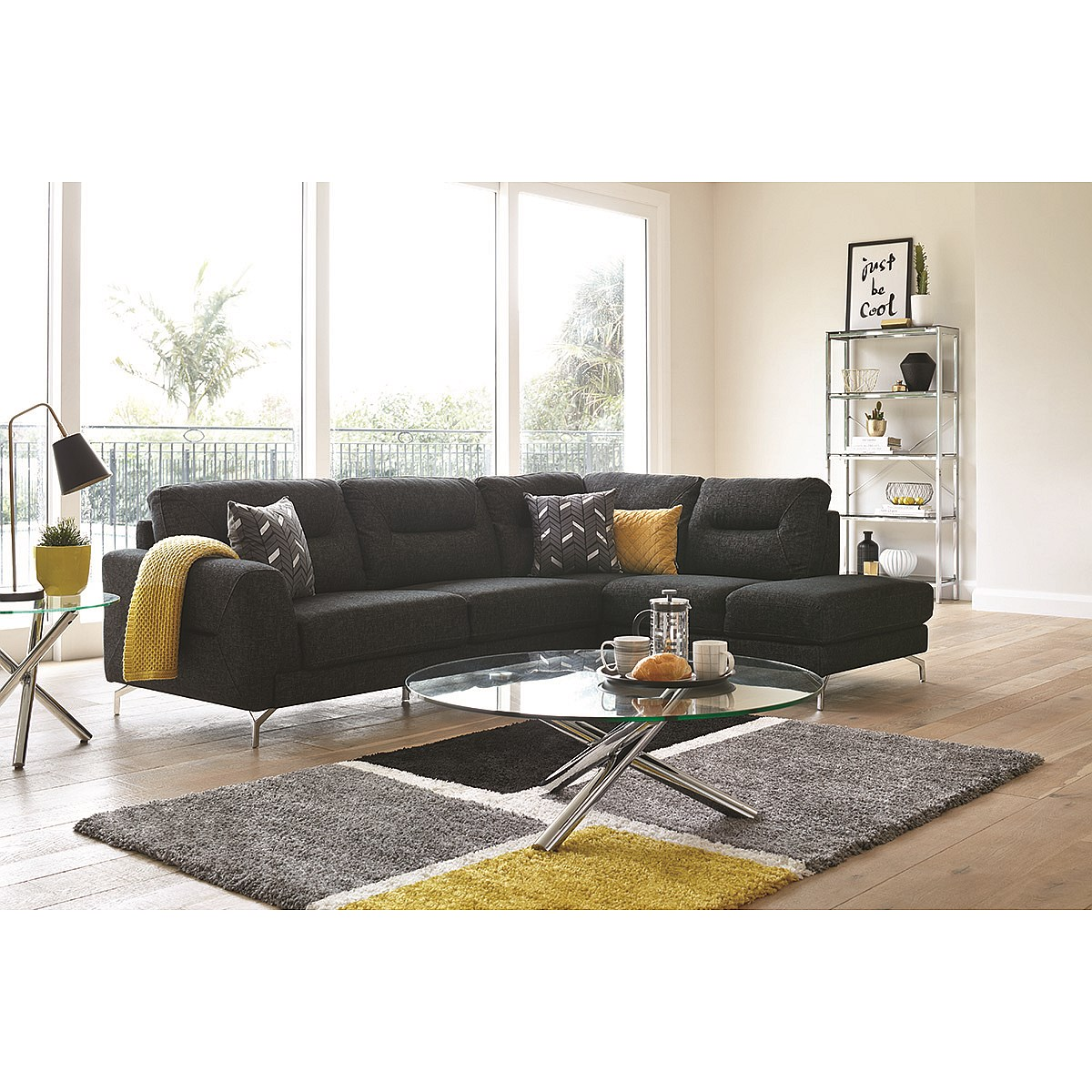 Caesar 3-Seater Fabric Sofa with Chaise