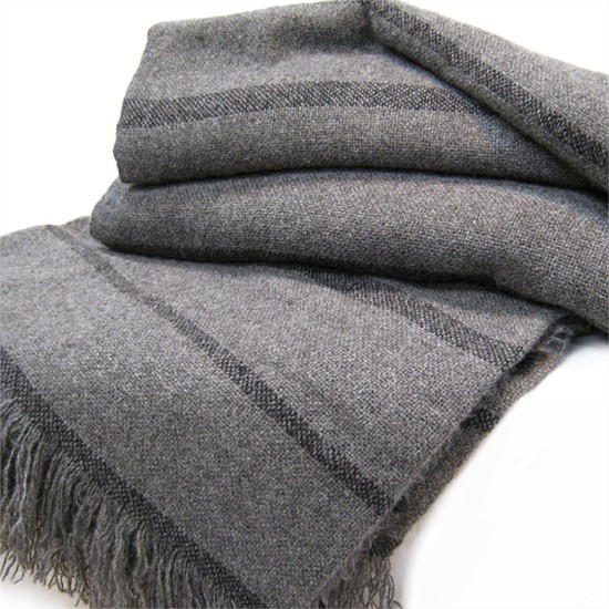NZ Brushed Grey Wool Throw