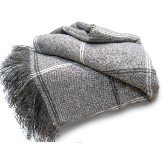 Brushed Grey Wool Blanket