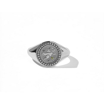 Amulet Peace Signet Ring Sterling Silver Green Sapphire
