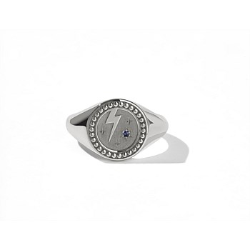 Amulet Strength Signet Ring Sterling Silver Dark Blue Sapphire