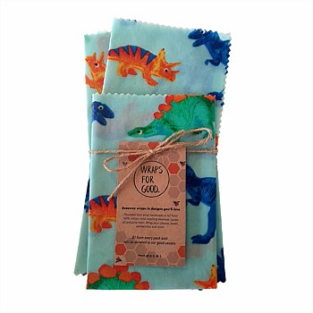 Beeswax Reusable Food Wraps 3 Pack - Dinos
