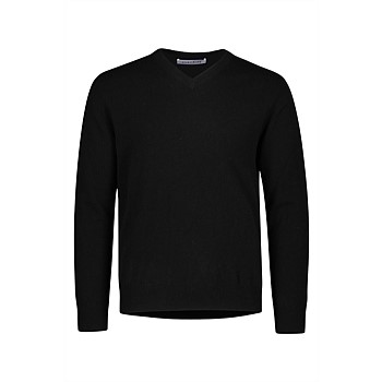 Harrison Cashmere V Neck - Black