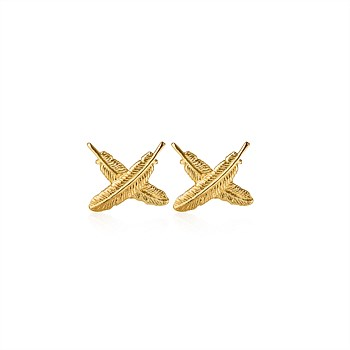 9CT Feather Kisses Studs