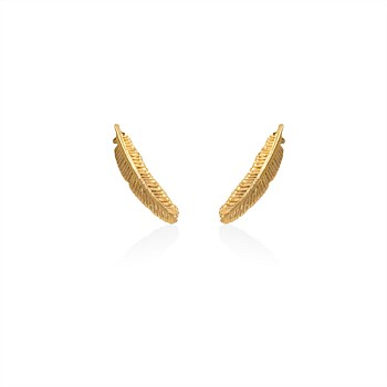 Miromiro Feather Stud 9CT Yellow Gold