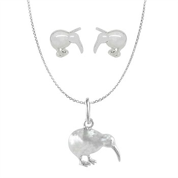 Boxed Gift set - Kiwi Pendant and Studs in polished sterling silver