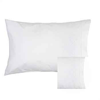 Motif Embroidered Hemstitch Pillow Case Pair