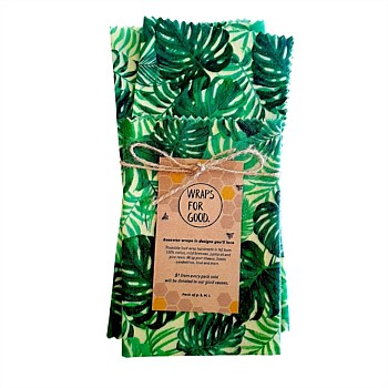 Beeswax Reusable Food Wraps 3 Pack - Monstera