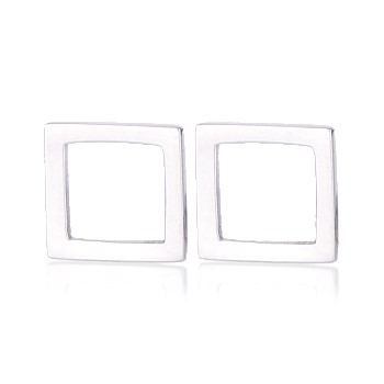 Square Studs Sterling Silver