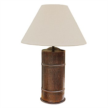Handmade Brass Cylinder Lamp with two bands in antique Copper Finish with Lampshade