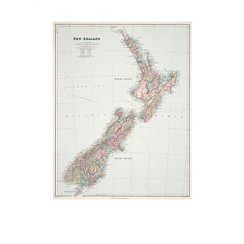 Map of New Zealand A2 Print