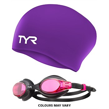 Womens Swim Cap & Big Swimple Goggle Pack