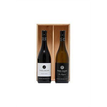 A Duo of Foxes Island Icon La Lapine and Estate Pinot Noir in a wood box.