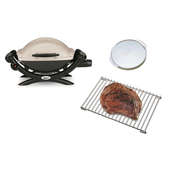 BUNDLE Baby Q1000 Titanium with Pizza Stone and Roasting Trivet