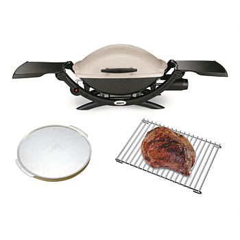 BUNDLE Q2000 Titanium with Pizza Stone and Roasting Trivet