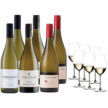 NZ Sauvignon Blanc mixed case and 6 Riedel Sauvignon Blanc glasses